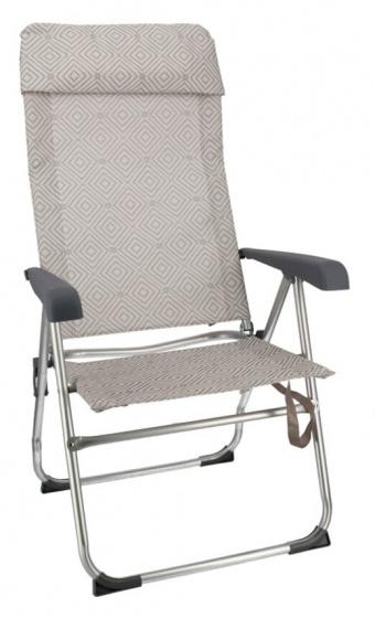 Gerimport campingstoel 60 x 113 cm aluminium-polyester grijs