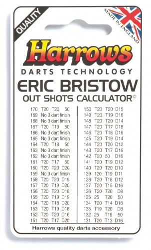 Harrows Darts Eric Bristow Uitgooi Overzicht 11X6.5CM