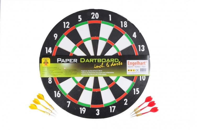 Longfield Games Dartbord 1cm Papier Met 6 Darts