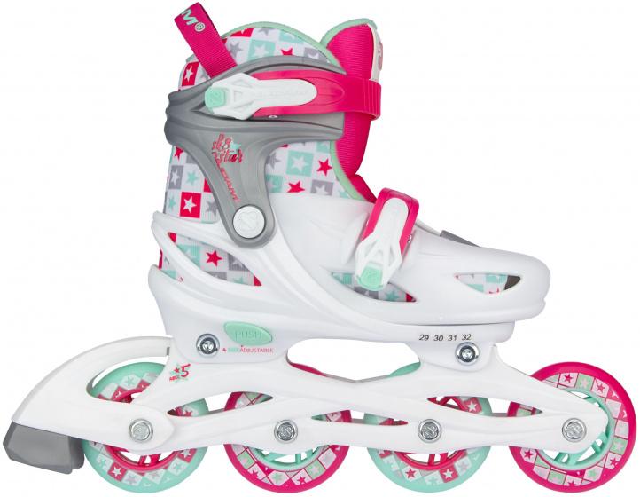Nijdam skates SK8 Star meisjes polyester wit-roze-groen maat 25-28