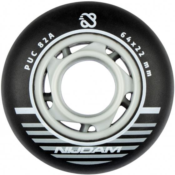 Nijdam skatewielen inline 85A 6,4 x 2,2 cm PU zwart 4 stuks