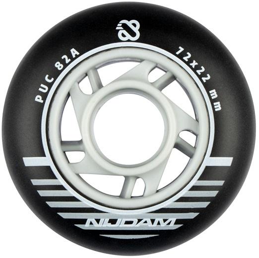 Nijdam skatewielen inline 85A 7,2 x 2,2 cm PU zwart 4 stuks