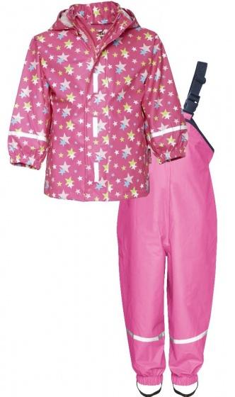 Playshoes regenpak tweedelig Sterren junior roze