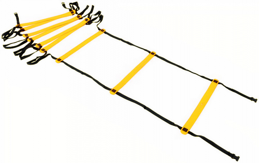 Precision trainingsladder Adjustable 400 x 51 cm nylon zwart/geel