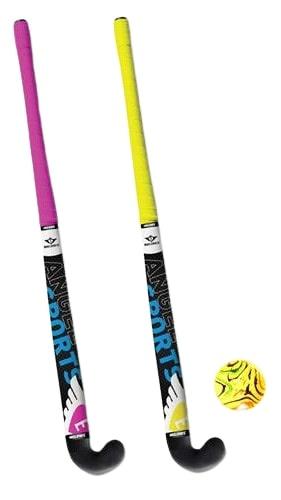 Sportec hockeyset junior 30 inch roze/geel 4 delig