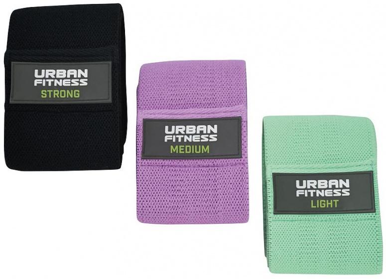 Urban Fitness weerstandsbanden rubber zwart/paars/groen 3 stuks