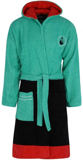 Wave Hawaii badjas Cinco katoen groen/zwart/rood maat S