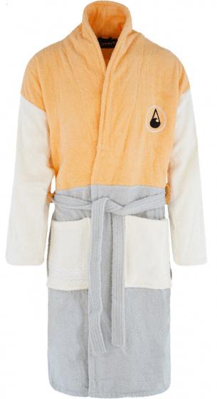Wave Hawaii badjas Dos katoen geel/wit/grijs maat S