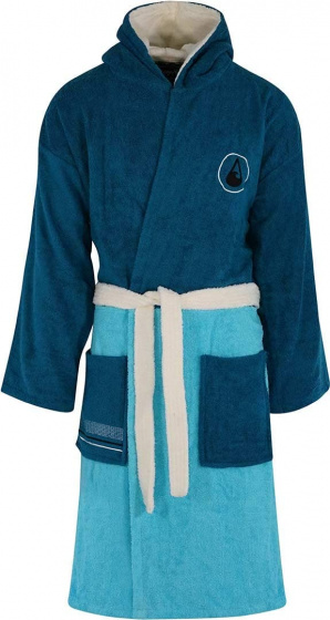 Wave Hawaii badjas Seis katoen donkerblauw/turquoise maat L