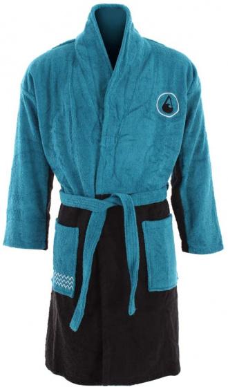 Wave Hawaii badjas Uno katoen blauw/zwart maat M