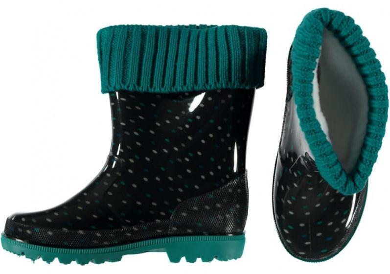 XQ Footwear regenlaarzen junior rubber/EVA zwart/groen