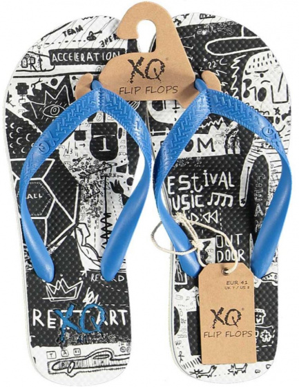 XQ Footwear teenslipper jongens EVA zwart/wit/blauw