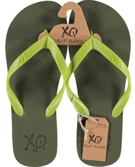 XQ Footwear teenslippers heren polyester kaki/lime